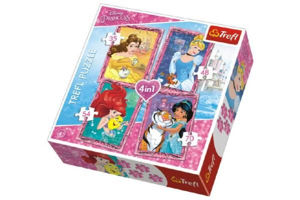 Puzzle  4v1 Princezny Disney v krabici 28x28x6cm