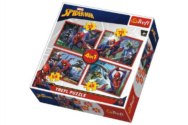 Puzzle 4v1 Spiderman/Disney Marvel Spiderman v krabici 28x28x6cm
