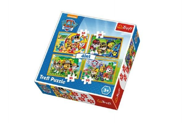 Puzzle 4v1 Paw Patrol/Tlapková Patrola v krabici 28x28x6cm