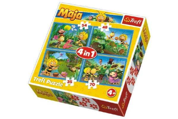 Puzzle 4v1 Dobrodružství včelky Máji v krabici 28x28x6cm