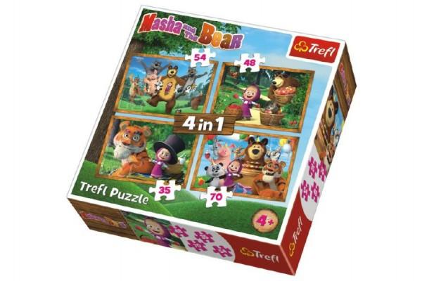 Puzzle 4v1 Máša a Medvěd Lesní Dobrodružství v krabici 28x28x6cm
