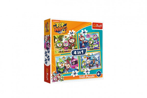 Puzzle 4v1 Ptačí kadeti/Top Wing 28,5x20,5cm v krabici 28x28x6cm