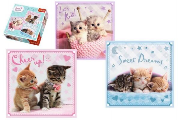 Puzzle Koťata 3v1 20x19,5cm v krabici 28x28x6cm