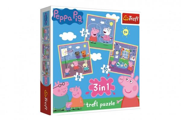 Puzzle 3v1 Prasátko Peppa/ Peppa Pig ve škole v krabici 28x28x6cm