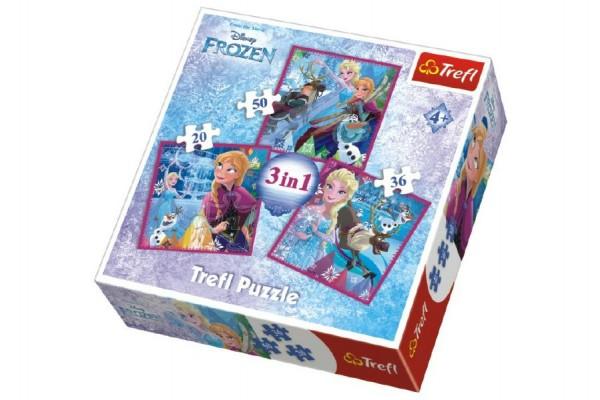 Puzzle 3v1 Frozen/Ledové Království 20x19,5cm v krabici 28x28x6cm