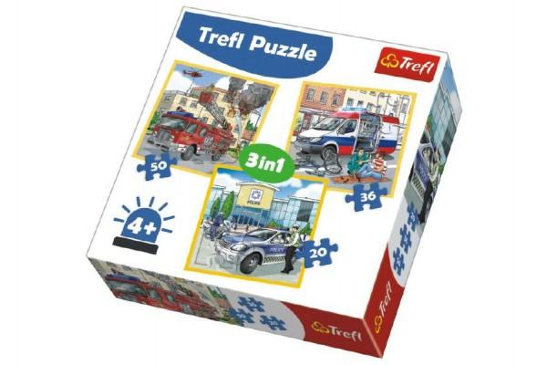 Puzzle 3v1 Profese Záchranáři 20x19,5cm v krabici 28x28x6cm