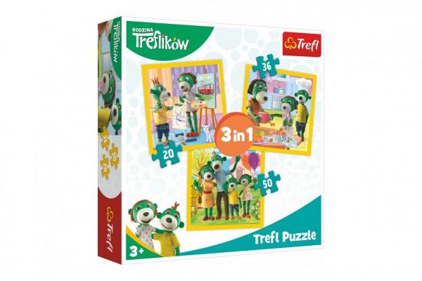 Puzzle 3v1 Rodina Treflíků 20x19,5cm v krabici 28x28x6cm