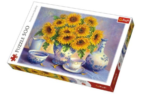 Puzzle Slunečnice malované 500 dílků 48x34cm v krabici 40x27x4,5cm