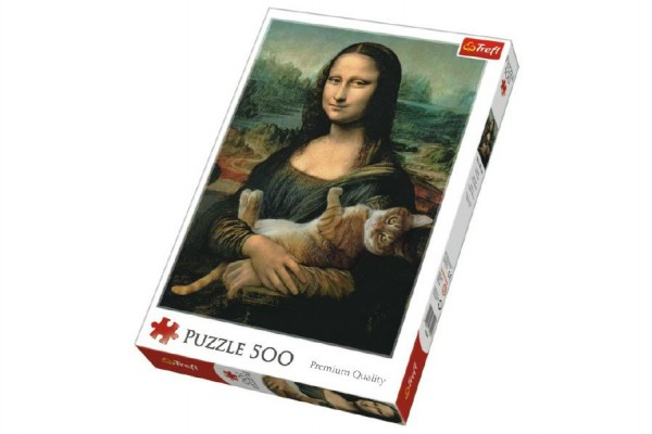 Puzzle Mona Lisa s kočkou 500 dílků 48x34cm v krabici 40x27x4,5cm