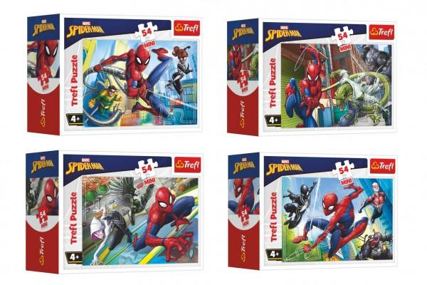Minipuzzle 54 dílků Spidermanův čas 4 druhy v krabičce 9x6,5x4cm 40ks v boxu