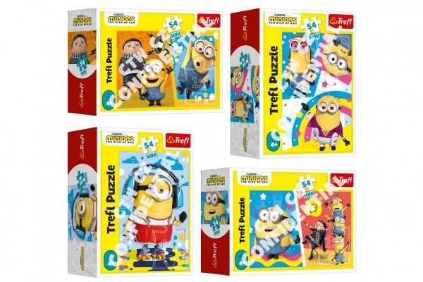 Minipuzzle 54 dílků Mimoni/Padouch přichází 4 druhy v krabičce 9x6,5x4cm 40ks v boxu