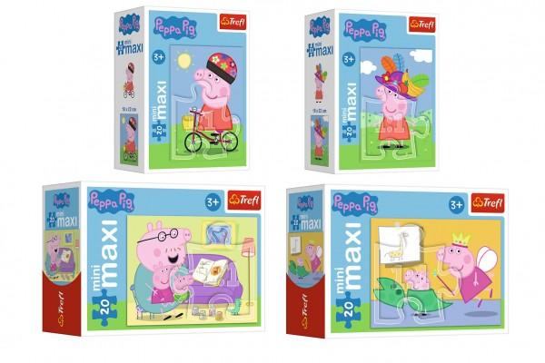Minipuzzle miniMaxi 20 dílků Zábava s Peppou Pig/Peppa pig 4 druhy v krabičce 11x8x4cm 24ks v boxu