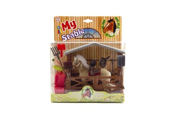 Kůň fliška se stájí a doplňky plast v krabici 23x27x9cm