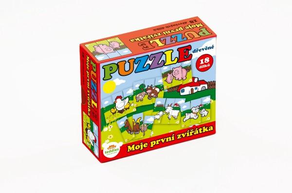Puzzle Moje první zvířátka dřevěné 18 dílků pro nejmenší v krabičce 13x11,5x4,5cm 12m+ MPZ
