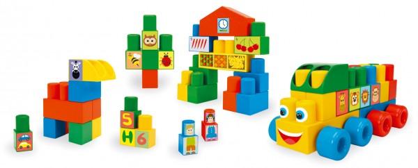 Kostky stavebnice Middle Blocks plast 70ks v krabici 40x40x15cm 12m+ Wader